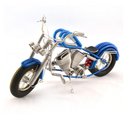 Wire Art Motorcycle Blue - Handmade Aluminium Wire Art Sculpture