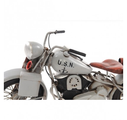 Handcrafted Iron framed 1945 Grey Motorcycle 1:12 scale model