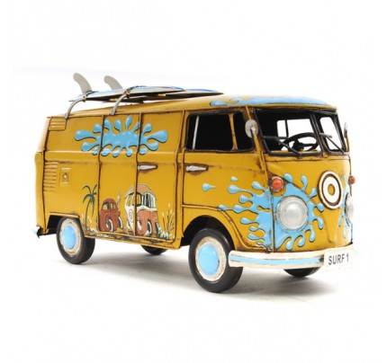 Handcrafted Iron framed 1967 Volkswagen Deluxe Bus 1:18 scale model