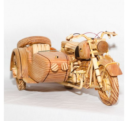 3 Wheels Old Style Motorcycle Wooden (Oak wood)