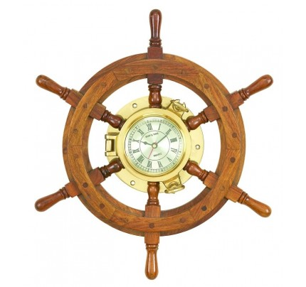 Wood Ships wheel Clock Unique Country Home Decor