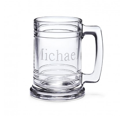 Clear Glass Maritime Beer Mug - Engraved Sports Mug