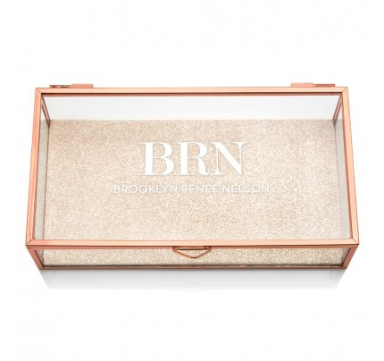 Personalized Glass Jewelry Box With Rose Gold Initials Printing