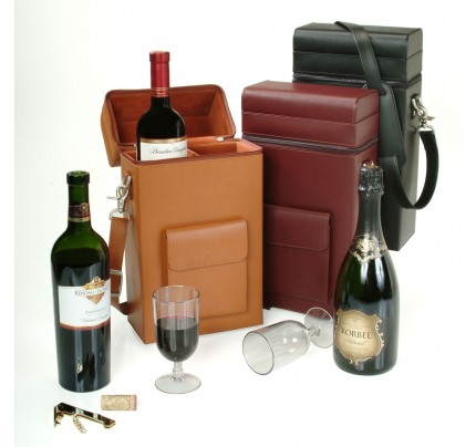 Leather Connoisseur Wine Carrier - Genuine Leather Case