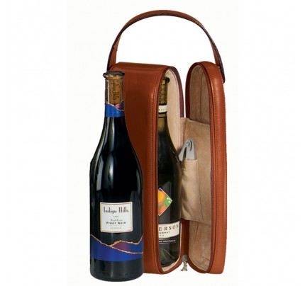 Leather Single Wine Carrying Case - Genuine Leather