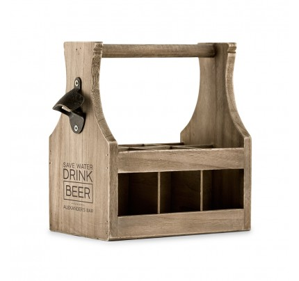 Wood Beer Bottle Caddy With Opener - Save Water Drink Beer