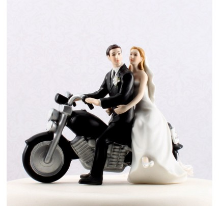 Motorcycle Get-away Wedding Couple Figurine - Wedding Cake Topper