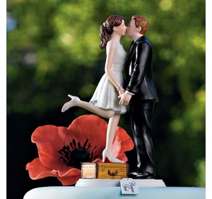 A Kiss And We're Off! - Figurine unique wedding cake topper