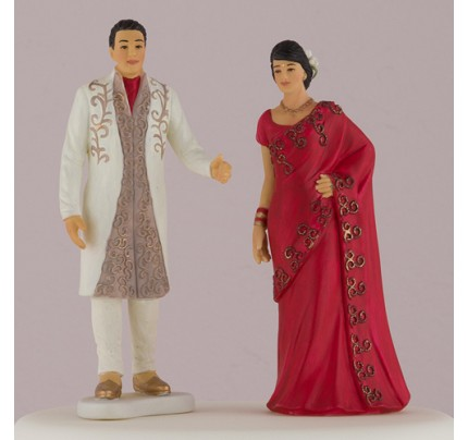Traditional Indian Bride & Groom Figurine Wedding Cake Topper - Combo