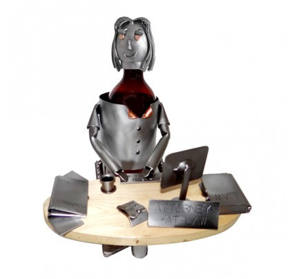 Attorney (Female) Working at Desk Wine Caddy