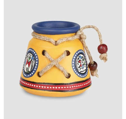 Terracotta Pen Stand yellow Earthen handmade and handpainted Warli
