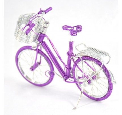 Girl Bicycle Wire Art Sculpture - Magenta color handmade bike