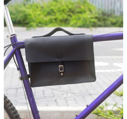 Bicycle Frame Bag - Genuine Leather Bicycle Frame Bag black