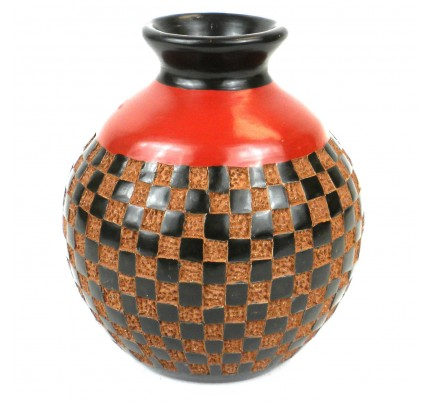 Handmade Decorative Red Black and Tan Vase - CHECKERS RELIEF