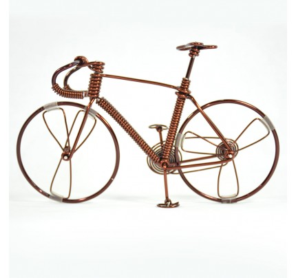 Bicycle Wire Art Sculpture handmade bike copper color - men's gear