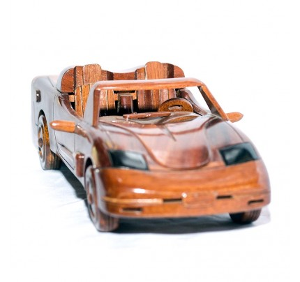 Corvette Wooden Model Car : Handcrafted Mahogany