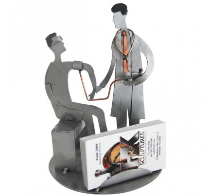 Doctor (male) Sculpture with Patient Business Card Holder