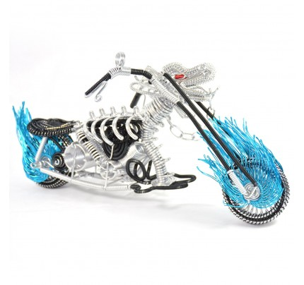 Dragon Motorcycle Model - Wire Art Model in Blue