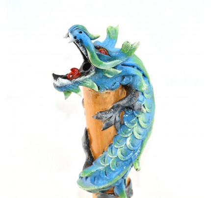 Dragon Incense Holder Bamboo Statuette Blue Dragon with Incense