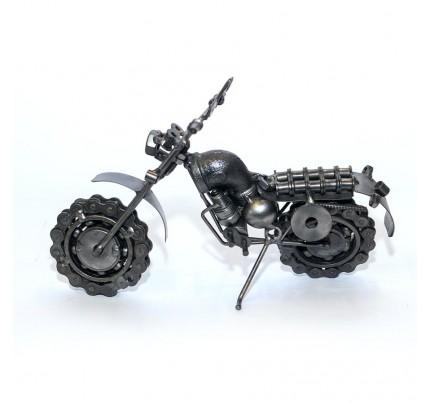 Metal Dual Sport : Motorcycle Metal Sculpture - 23cm, Silver (SPO4)