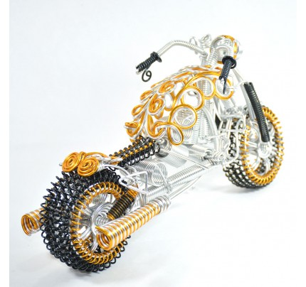 Fatboy Wire Art Sculpture Motorcycle - Aluminium handmade