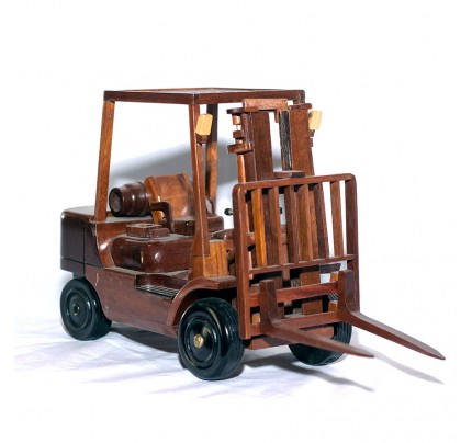 Mahogany Wooden Forklift truck scale model