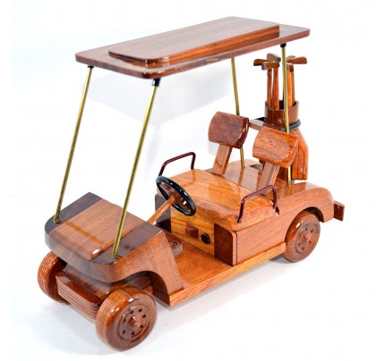 Golf Cart Wooden Mahogany Model : Gift for Golf lovers
