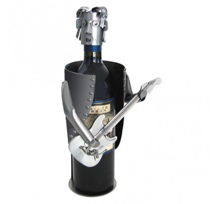 Guitar Player with Electric Guitar Wine Bottle Holder