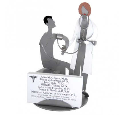 Doctor Female With Patient Business Card Holder