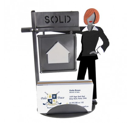 Real Estate Female Business Card Holder - realtor