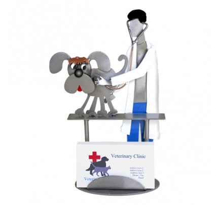 Veterinarian Examining Dog Business Card Holder