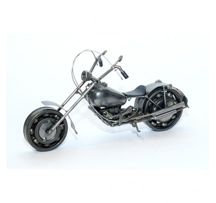 Harley Davidson : Motorcycle Model Metal Sculpture - 15cm Gray Medium