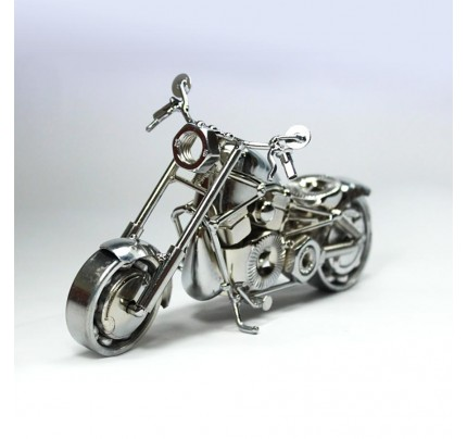 Harley Fatboy : Motorcycle Model 30cm Metal Sculpture - Silver