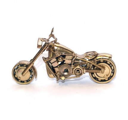 Harley Fatboy : Motorcycle Model 30cm Metal Sculpture - Gold