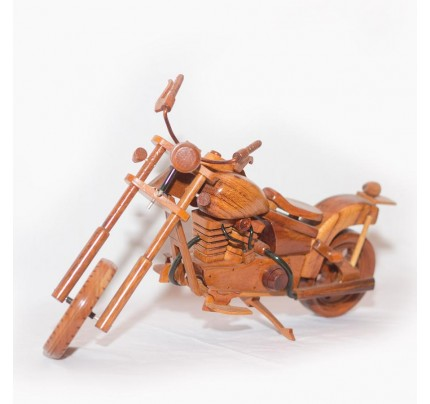 Harley Davidson Motorcycle : Mahogany Wooden Motorcycle Model