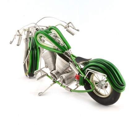 Wire Art Motorcycle Green - Handmade Aluminium Wire Art Sculpture