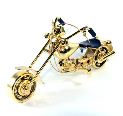Harley Davidson Motorcycle Metal Sculpture - 18cm, Gold Small