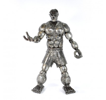 Hulk Scrap Metal Sculpture - Superhero Recycled Metal Handmade Art