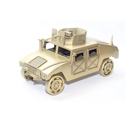 Military Humvee (Gold) Model with machine gun : Scrap Metal Sculpture