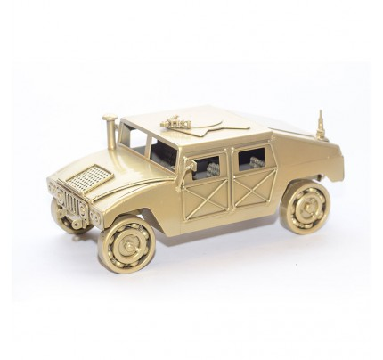 Military Humvee (Gold) Model from Scrap Metal Art Sculpture (Type 2)