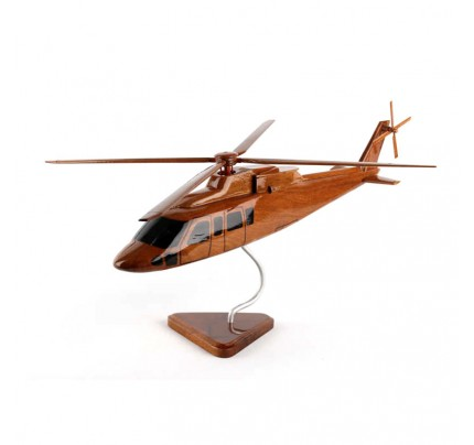Sikorsky S-76 Natural Mohogany Wood Helicopter - Military Aircraft