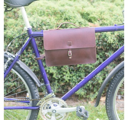 Bicycle Frame Bag - Genuine Leather Satchel Bag - Cherry