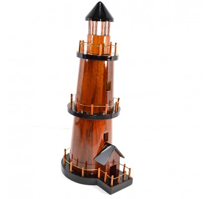 Mahogany Wood Lighthouse scale model - Handcrafted