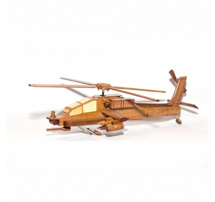 Boeing Ah-64 Apache helicopter mahogany wooden scale model