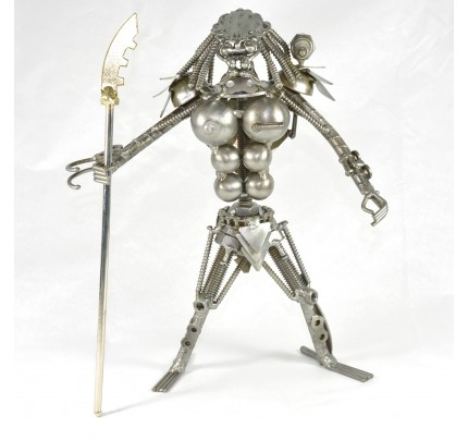 Metal Predator with Spear : Recycled Metal art model