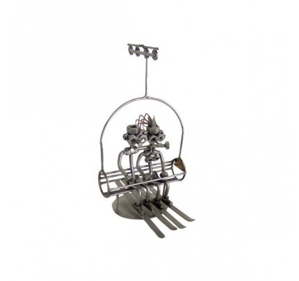Recycled metal art Skier Chair Lift Sculpture