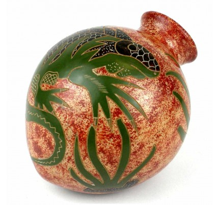 CHAMELEON VASE - Handmade 4.5-inch Tall Tilted Vase - Iguana Design