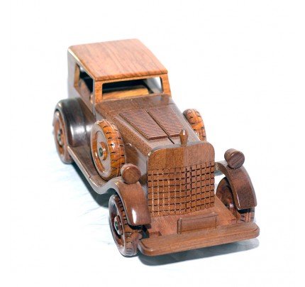 Wooden Mahogany Old Car with Black Box scale model