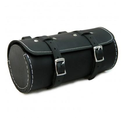 Genuine Leather Bicycle Round Saddle Bag Utility Tool Bag - Black