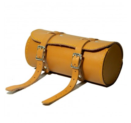 Genuine Leather Bicycle Round Saddle Bag Utility Tool Bag - Tan